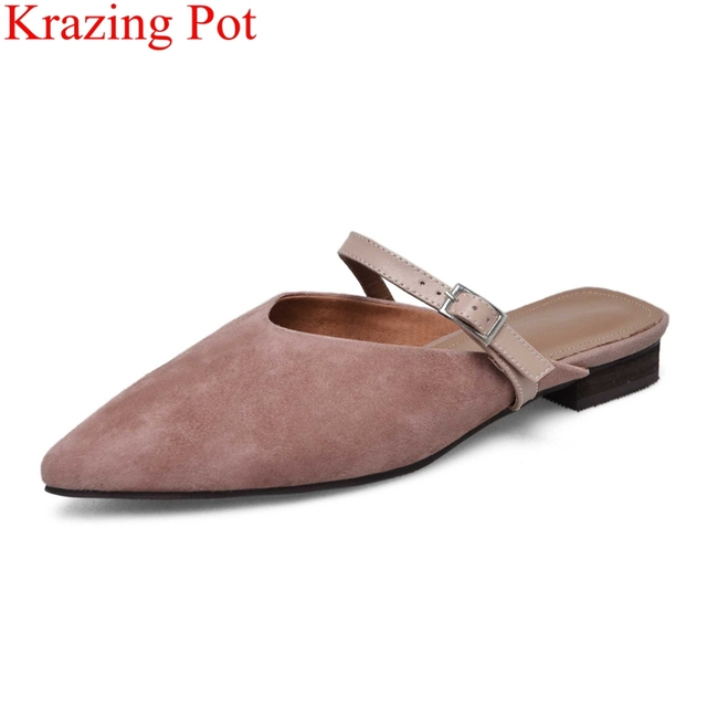 3a323bd11a7 2018 big size classics elegant low heels women sandals vacation office lady  mules pointed toe outside slipper casual shoes L08
