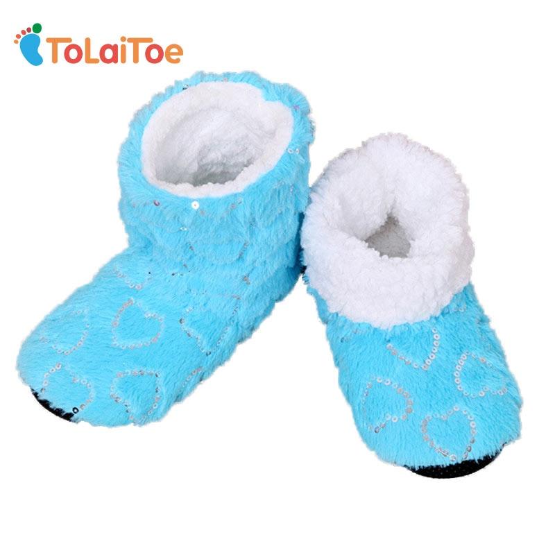 ToLaiToe snoep Pailletten Love Coral fluweel Indoor Vloer Slippers Dames Huis Schoenen Sequin Heart Home Soft Sole Warm Huis Slippers