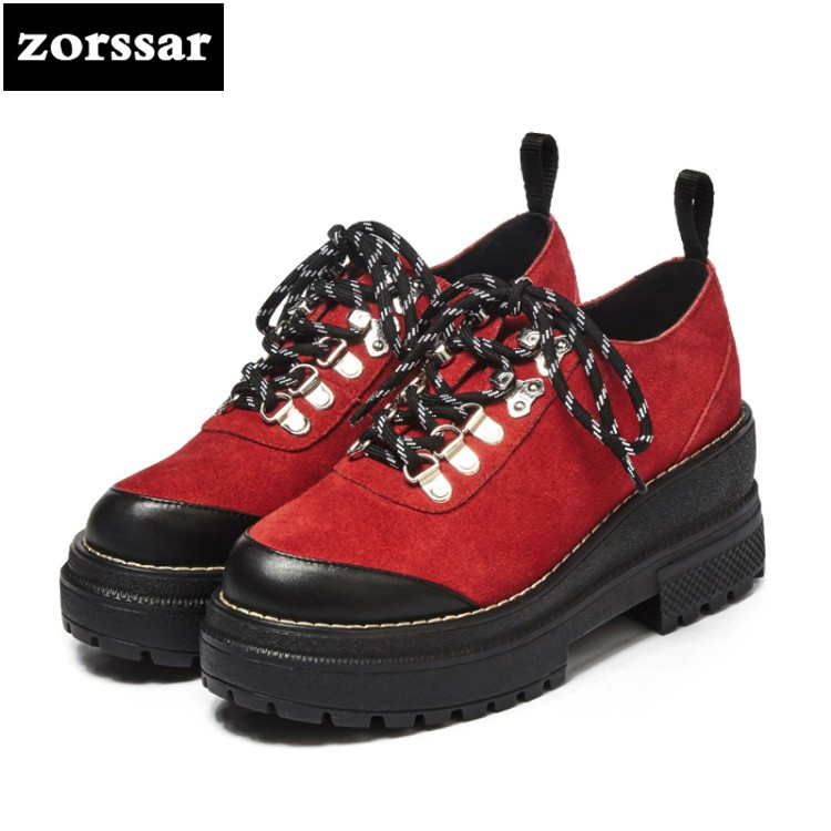 {Zorssar} 2018 New Cow Suede female dress shoes casual Lace-up platform High heels fashion women Creepers shoes zorssar brand 2018 new womens creepers shoes heels casual wedges high heels pumps shoes fashion suede women platform shoes