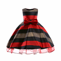 New Design Striped Jacquard Dress Clothes For Girls Princess Formal Graceful Dresses Birthday Party Wedding Dresses