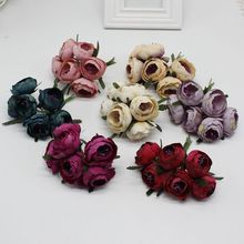 6 pcs / lot Artificial Pink Silk Flower Peony Flowers Wedding Bouquet Bridal Decoration for DIY Scrapbooking