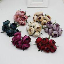 6 pcs / lot Artificial Pink Silk Flower Peony Flowers Wedding Bouquet Bridal Decoration for DIY Scrapbooking