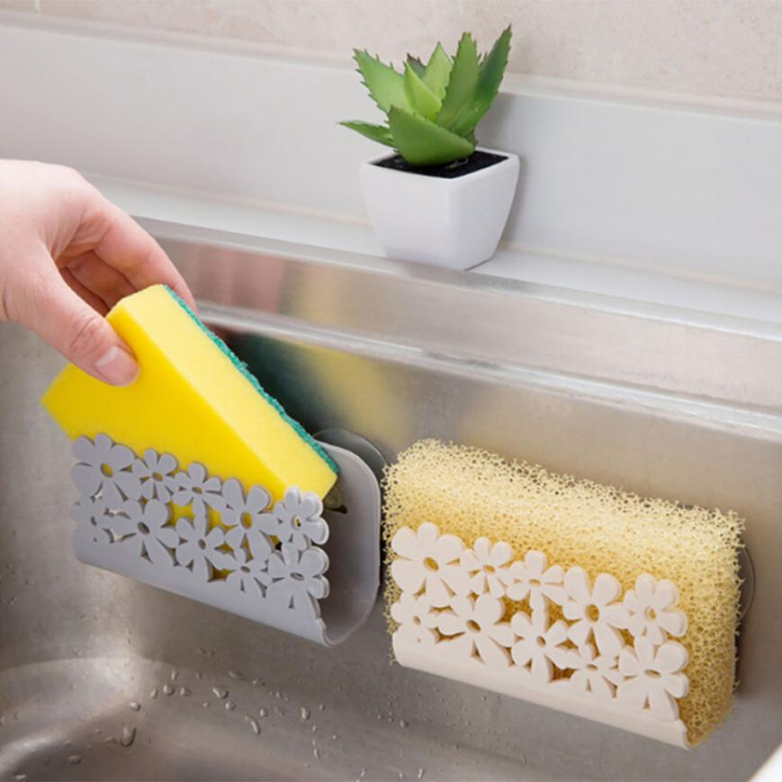 Konco Kitchen Drying Rack Toilet Sink Suction Sponges Holder Rack Suction Cup Dish Cloths Holder Scrubbers Soap Storage