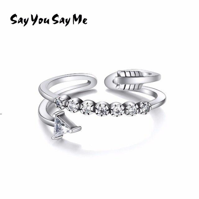 925 Sterling Silver Zircon Ring Wedding&Engagement Cupid's Sword Open Rings Best