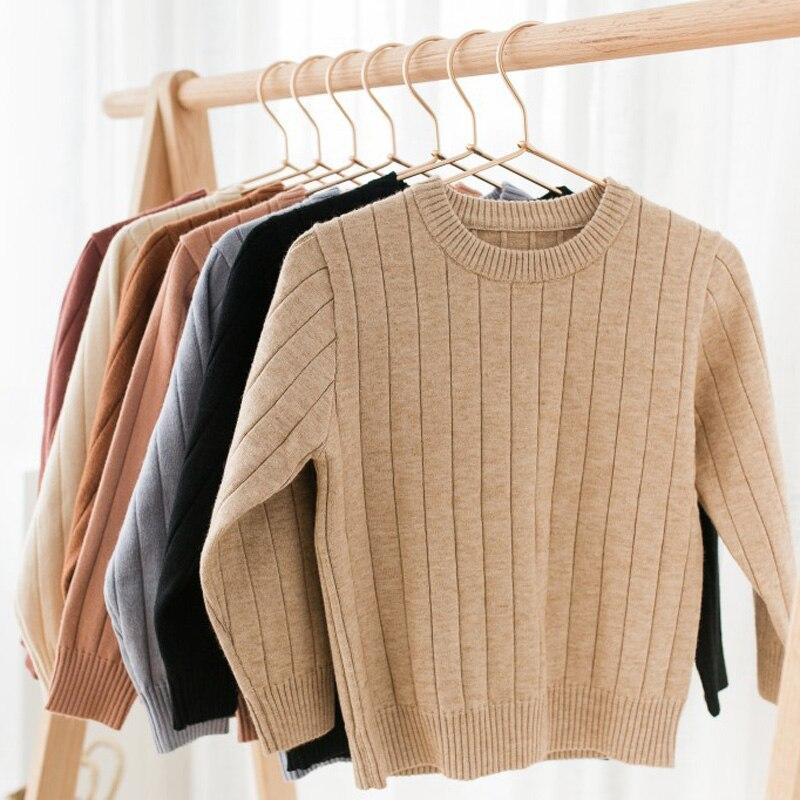 Funfeliz Kinder Pullover Mädchen Pullover Einfarbig Pullover für Jungen Herbst Winter Strickwaren Pullover Casual Kinder Strickjacke 1-11Y