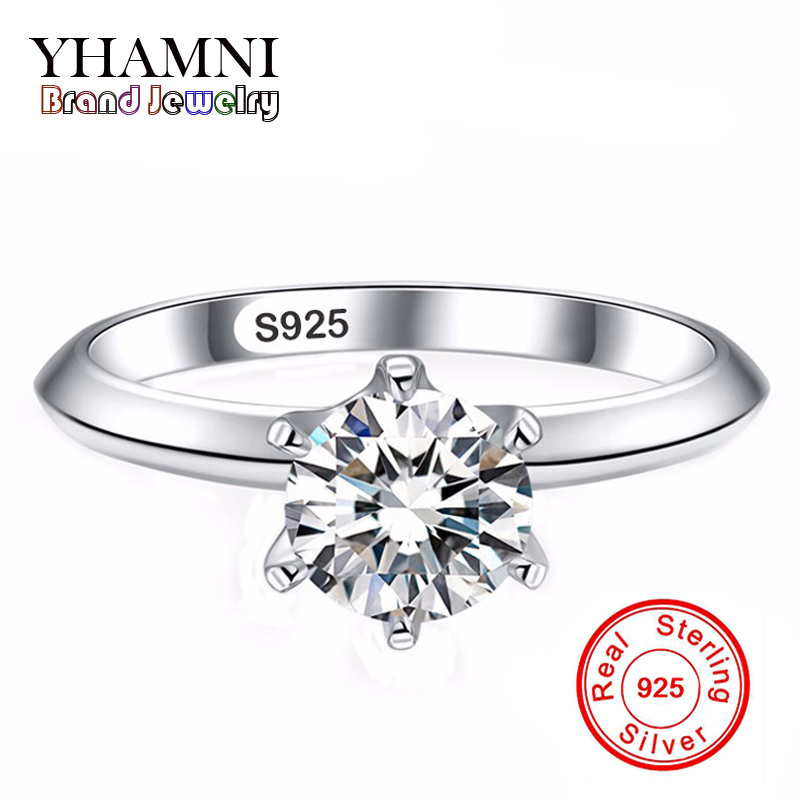 Big Promotion! 100% Solid Silver Rings For Women Inlay 6mm SONA CZ Diamant Engagement Finger Rings Silver Jewelry Wholesale R925