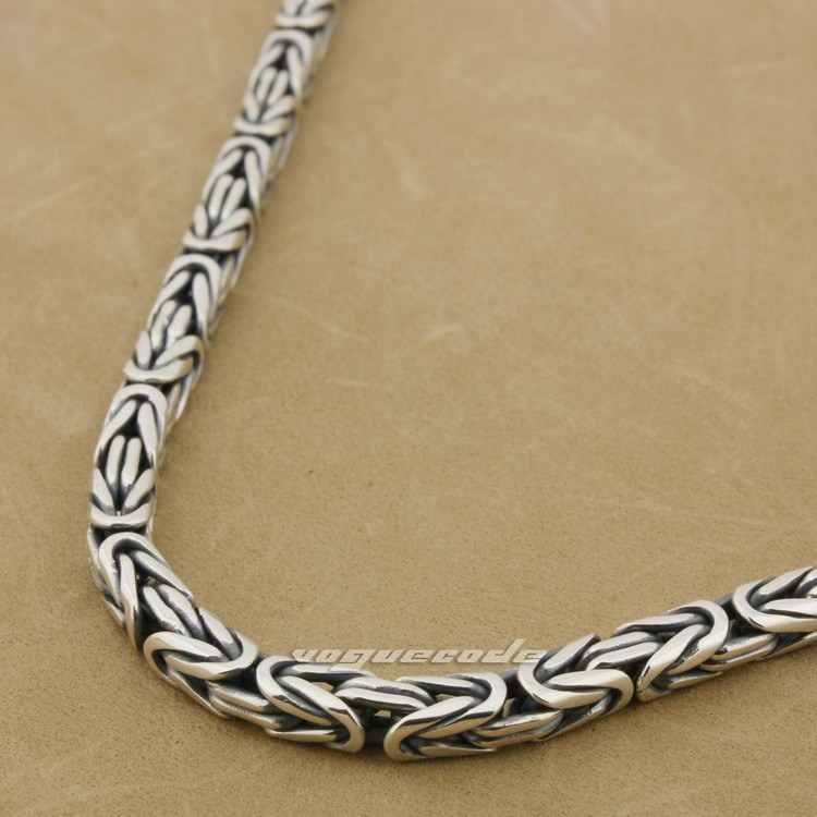 925 Sterling Silver Square Byzantine Chain Necklace Mens