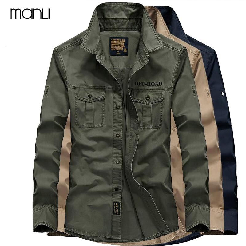 MANLI AFS Jeep Mens Shirt Breathable 2018 Fall Warm Business Men Shirt Long Sleeve 100% Pure Cotton Sports Hiking Shirts 4XL