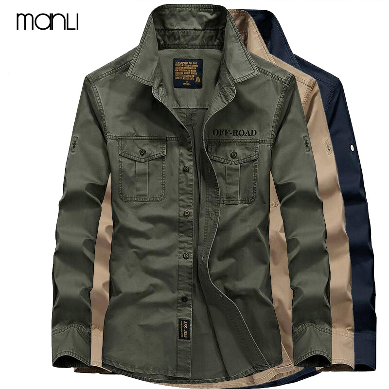 MANLI AFS Jeep Mens Shirt Breathable 2020 Fall Warm Business Men Shirt Long Sleeve 100% Pure Cotton Sports Hiking Shirts 7XL