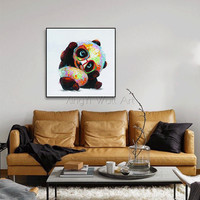 Knife Animal canvas painting wall art pictures for living room home decor acrylic thick texture Abstract panda quadro decoration