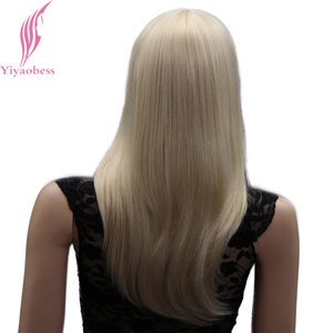 Image 5 - Yiyaobess 18inch Light Blonde Medium Long Straight Wig With Bangs Natural Synthetic Hair Wigs For Women Japanese Fiber