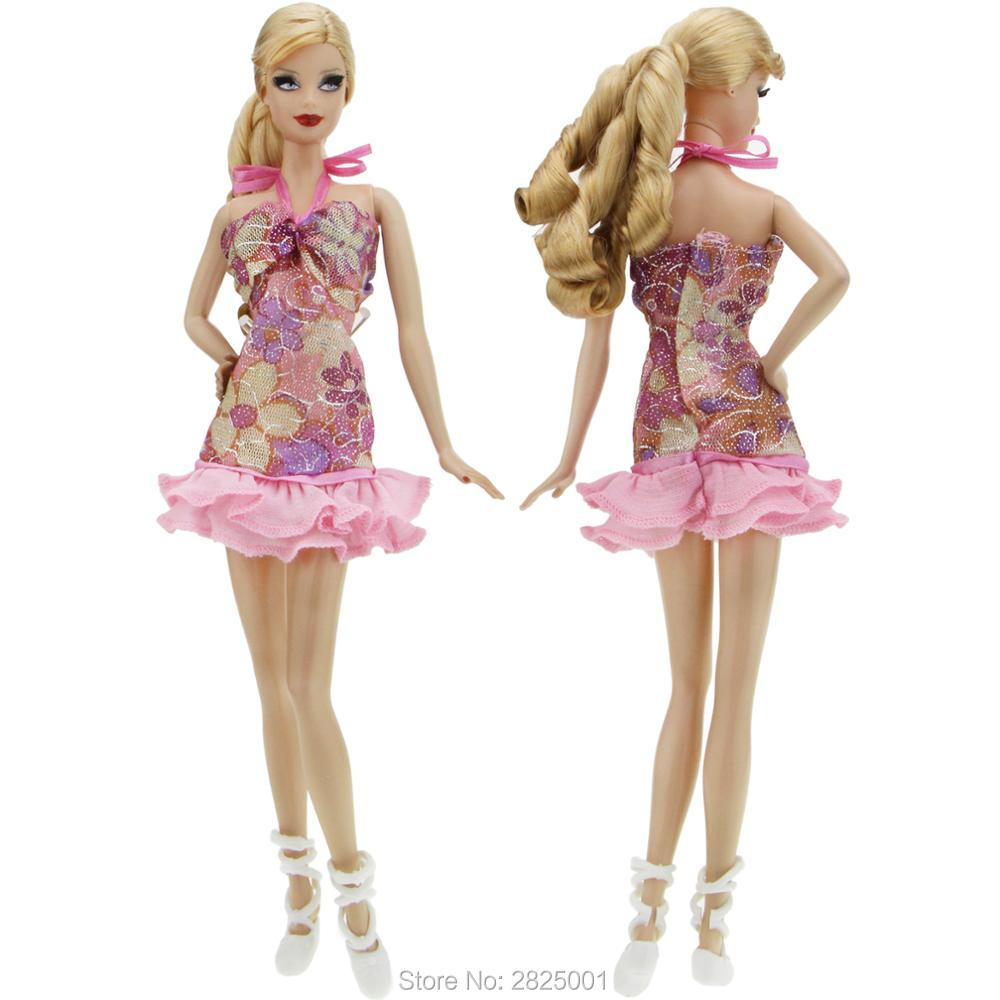 2x Items   1x Suspenders Mini Dress Pink Flower Pattern Wedding Party Gown  + 1x Ballet Shoes Clothes For Barbie Doll Accessories-in Dolls Accessories  from ... 2009d196d447