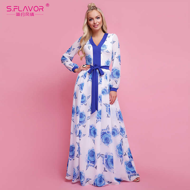 S.FLAVOR Bohemian Style Women Printing Long Dress V-neck Casual Patry Vestidos For Female Autumn Winter Fashion Beach Dress