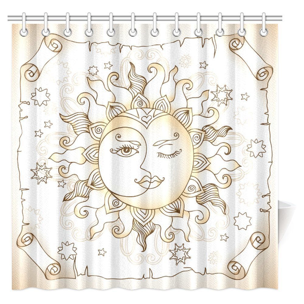 Sun And Moon Shower Curtain Vintage Magic Spiritual Celestial Theme Sun  With Crescent Moon Midnight Art Fabric Bathroom Curtains In Shower Curtains  From ...