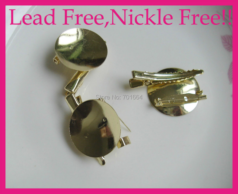 10PCS Golden 2.8cm Round pad Metal Brooch Pin Backs with 2.5cm safety pin and 4.0cm alligator clip Lead free and nickle free