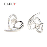 16 15mm 925 Sterling Silver Charming Heart With Zircon Earrings Fitting 1 Pair