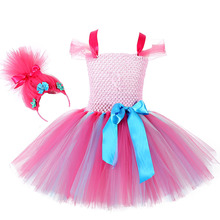 Moana Trolls Girls Knee Length Dress Kids Dresses for Girls Poppy Troll Dress Children Solid Party Dress Ball Gown with Headband