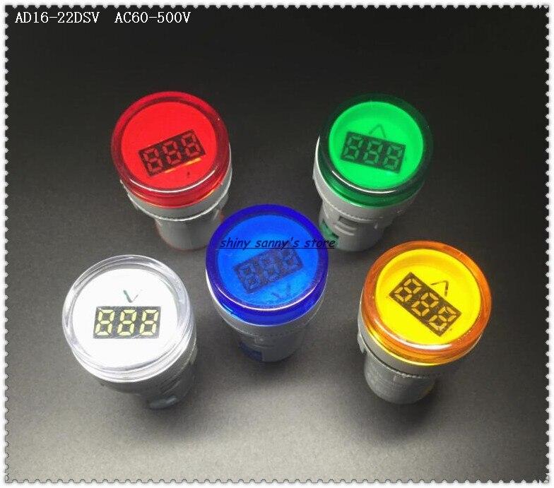 10 Pcs/Lot  AD16-22DSV 22mm AC60-500V Red,Green,Yellow,Blue,White Voltage Meter Digital Display Indicator Brand New