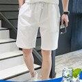2016 Лето Новые мужские Льняные Шорты Causual Свободные Пляжные Шорты Для Мужчин Мода Насыщенный Белый Мужские Короткие Брюки