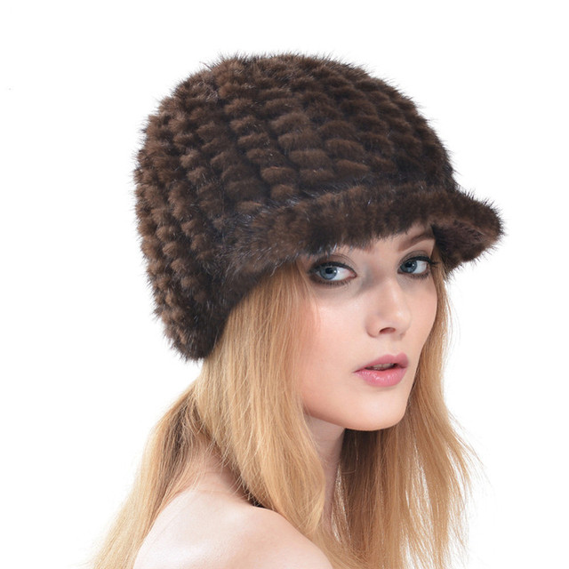 2016 New Autumn and Winter Knitted Mink Hat Cap Sales Good Quality Outdoors Warm Famle Mink Fur Hats Casquette LH301