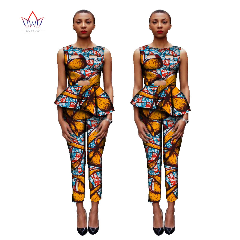 BRW African Clothes Crop Tops 2 Piece Set Women Clothing