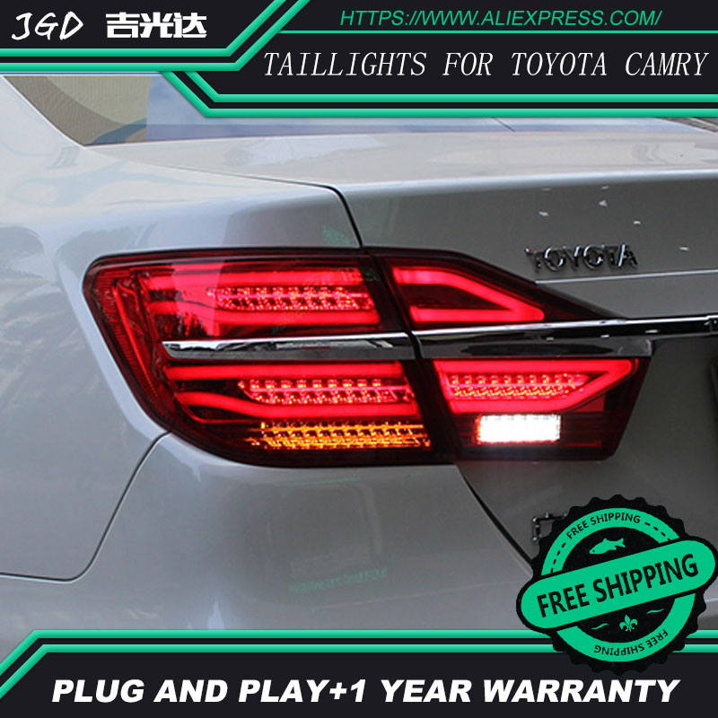 Car Styling tail lights for Toyota Camry 2015 taillights LED Tail Lamp rear trunk lamp cover drl+signal+brake+reverse car styling tail lights for toyota land cruiser 2010 2012 led tail lamp rear trunk lamp cover drl signal brake reverse