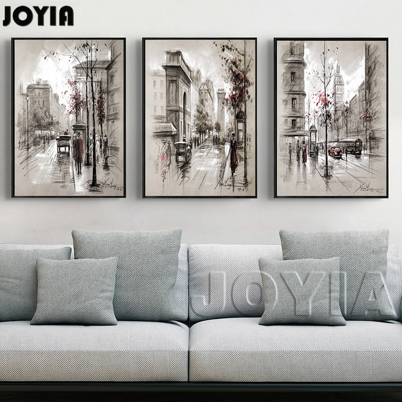 3 piece canvas painting abstract city street landscape for Piece of living room decor