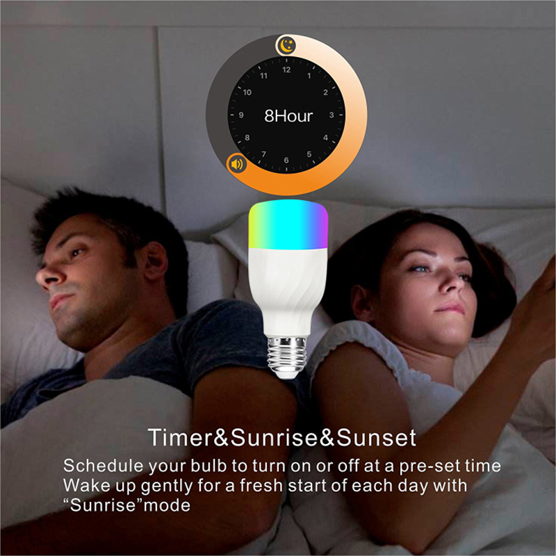 New E27 RGBW LED Lamp WiFi Smart Light Bulb 7W Dimmable Multicolor Wake Up Lights Compatible with Alexa and Google Assistant in LED Bulbs Tubes from Lights Lighting