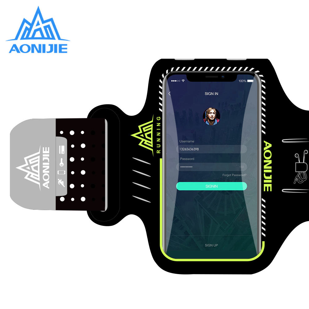AONIJIE Water Resistant Cell Mobile Phone Sports Running Armband Arm Bag Jogging Case Holder Cover For Fitness Gym Workout A892S