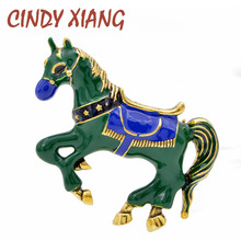 CINDY XIANG 2 Colors Choose Cute Enamel Horse Brooches For Women And Men 3D Style Vintage Animal Pin Unicorn Jewelry Good Gift