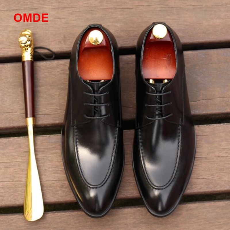 OMDE New Fashion Pointed Toe Men Leather Shoes British Style Lace-up Business Formal Shoes Breathable Derby Dress Shoes For Men men s genuine leather pointed toe shoes lace up business dress shoes men british style party wedding fashion buckle high heels