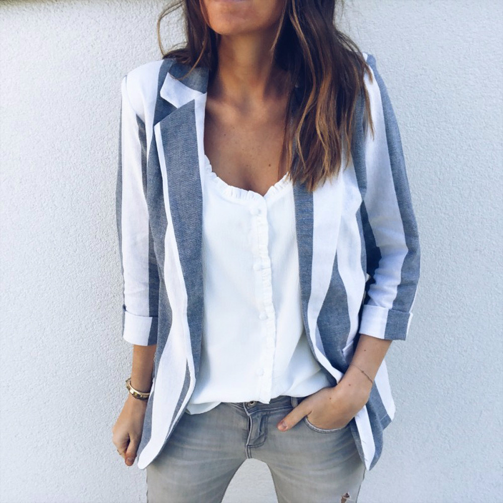 Winter Womens Office Work Long Sleeve Open Casual Striped Cardigan girl Suit Coat Jacket female v-neck stripe blouses