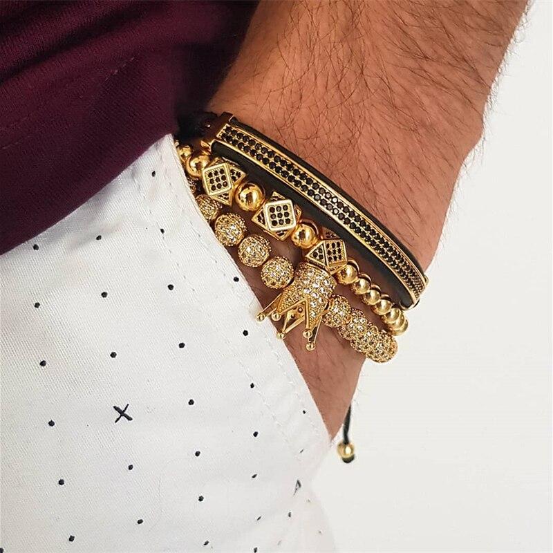 3 unids/set pulsera de los hombres joyas de la Corona encantos Macrame pulseras de perlas para mujeres pulseira masculina pulseira femenina regalos de vacaciones