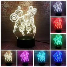 Light-up Avengers Iron Man Modelo 3D Ilusão LED Dormir NightLight Colorido Luz Spiderman Marvel Thonas Figura Brinquedos(China)
