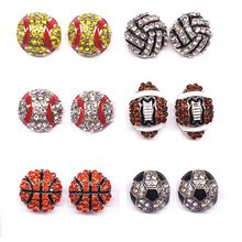 Wholesale 6 Pair Lot Pave Crystal Baseball Softball Team Sports Stud Earrings Football Studs Jewelry Rugby American