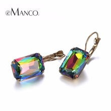 eManco Fashion Costume Jewellery Earrings for women 19 colors Minimalist Geometric Create Crystal Drop Earrings 2017