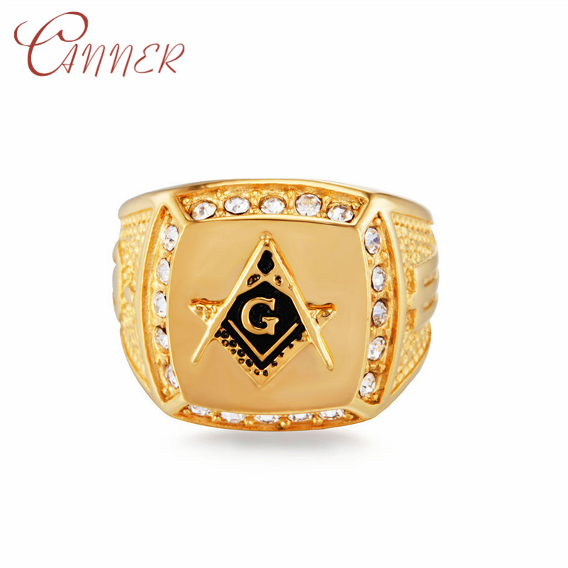 CANNER CZ Crystal Men Ring 316L Stainless Steel Ring with Freemason Masonic Free Mason Signet Mens Rings Rock Fashion Jewelry in Rings from Jewelry Accessories
