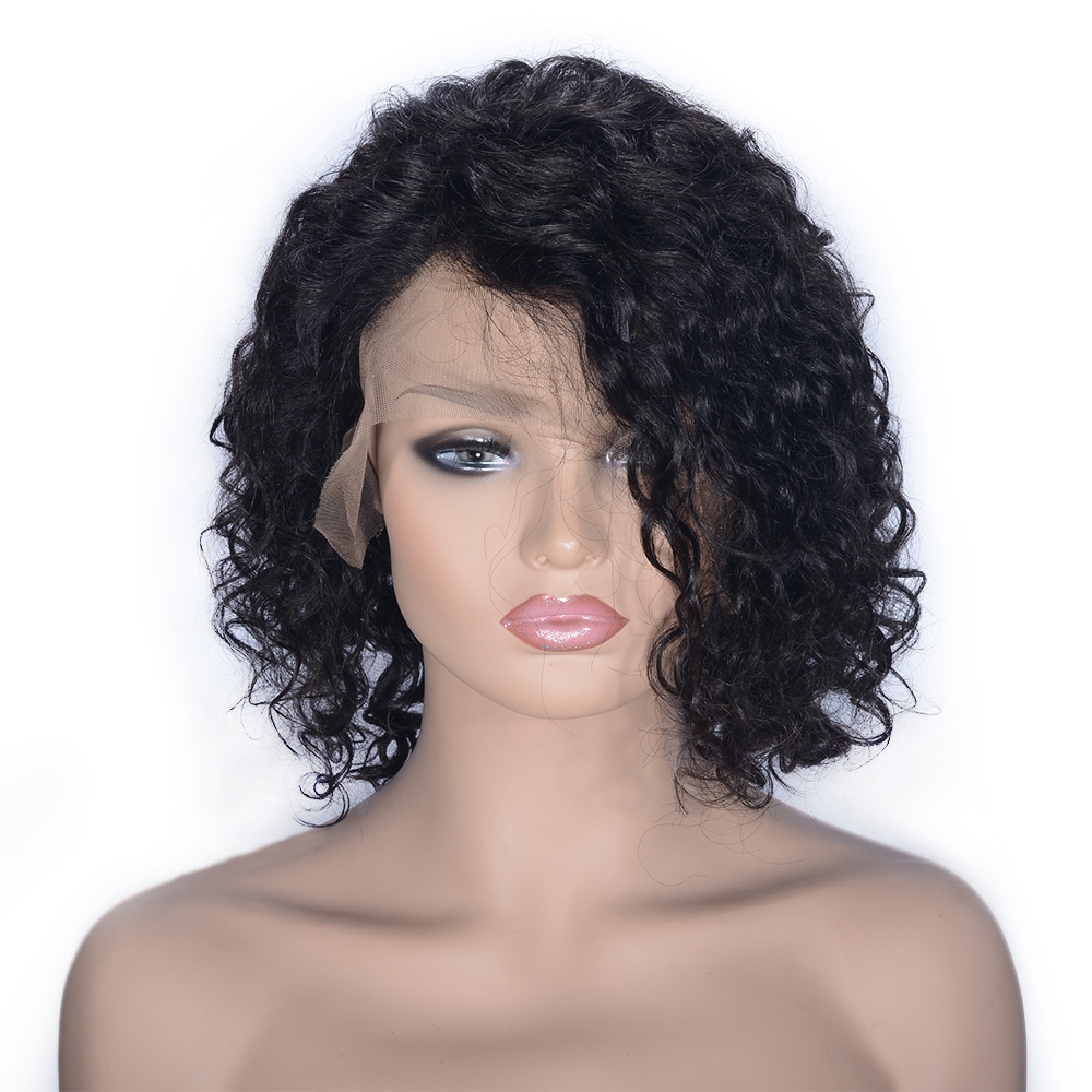 Glueless Curly Short Bob Full Lace Wig With Full End Remy Brazilian Human Hair Wigs For Women With Baby Hair Natural Black Favor