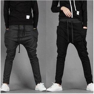 Новый 2016 весна мужская панк шаровары узкие брюки горячей продажи мужской большие промежность брюки
