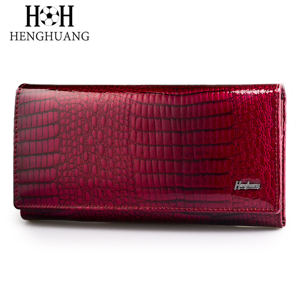 HH Brand Alligator Womens Wallets Genuine Leather Ladies Clutch Coin Purses Hasp Luxury Patent Crocodile Female Long Wallet