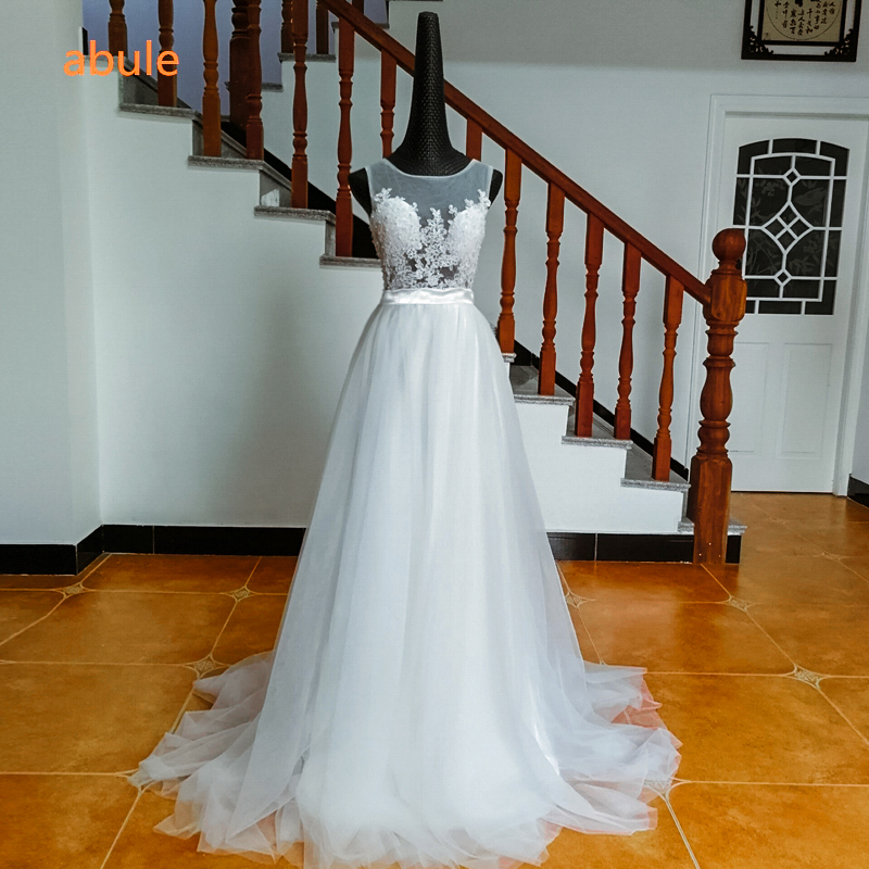 Abule trouwjurken prinses wit kant pure o-hals mouwloze kralen parels - Trouwjurken