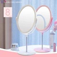 8 дюймов двухстороннее плоское зеркало для макияжа настольное овальное маленькое портативное туалетное розовое зеркало принцессы персона...