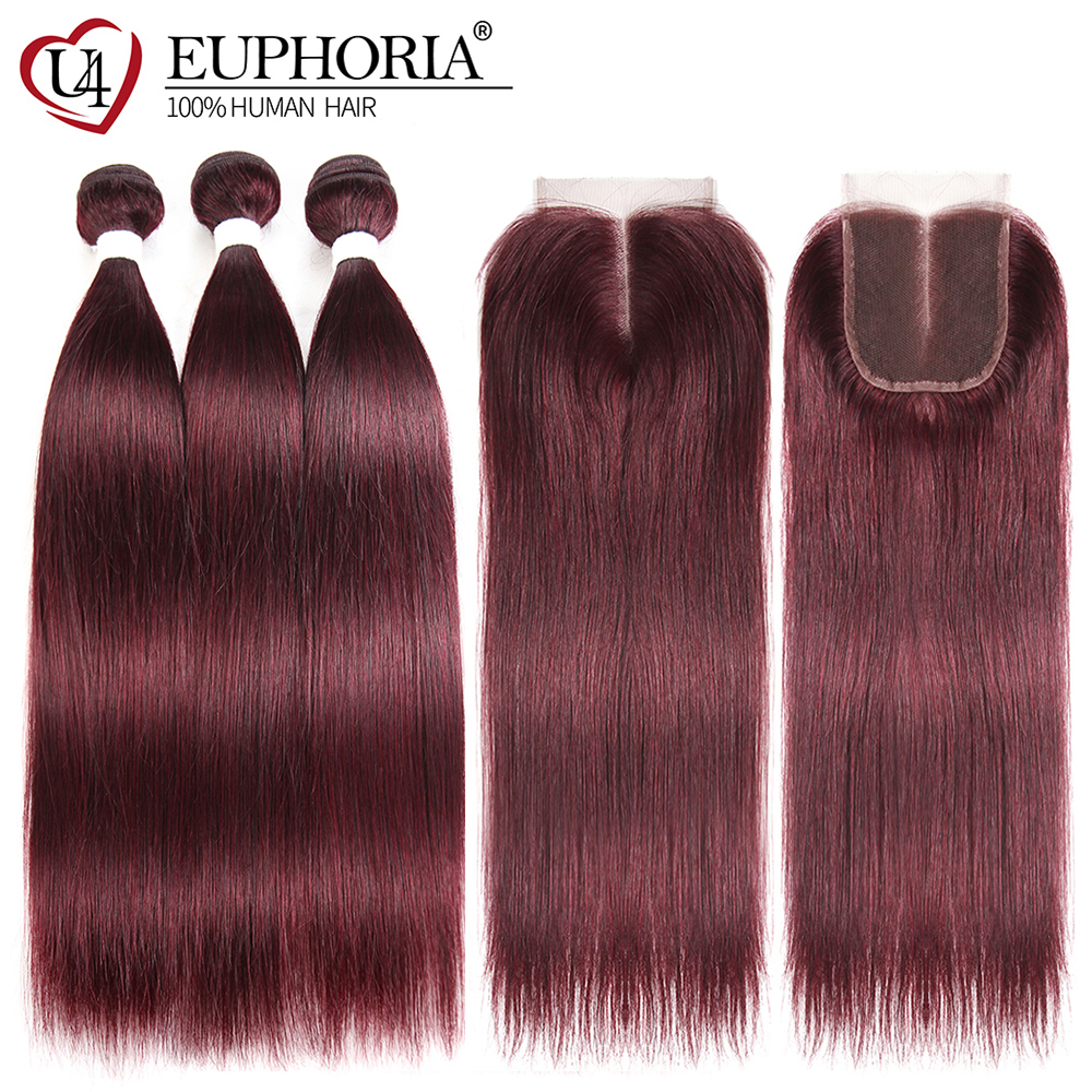 99J Burgundy Red Color Straight Human Hair Weaves 2 3 Bundles With Lace Closure 4x4 EUPHORIA