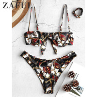ZAFUL Women Swimming Suit Sexy Bikini Swimsuit Chains Print Underwire Balconette Bikini Push Up Padded Bra Beach Bikini Set