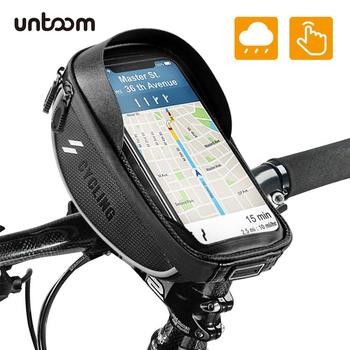 Bike Bicycle Phone Mount Bag Waterproof Front Frame Top Tube Handlebar Bag Touch Screen 6.0 inch MTB Road Bicycle Phone Holder