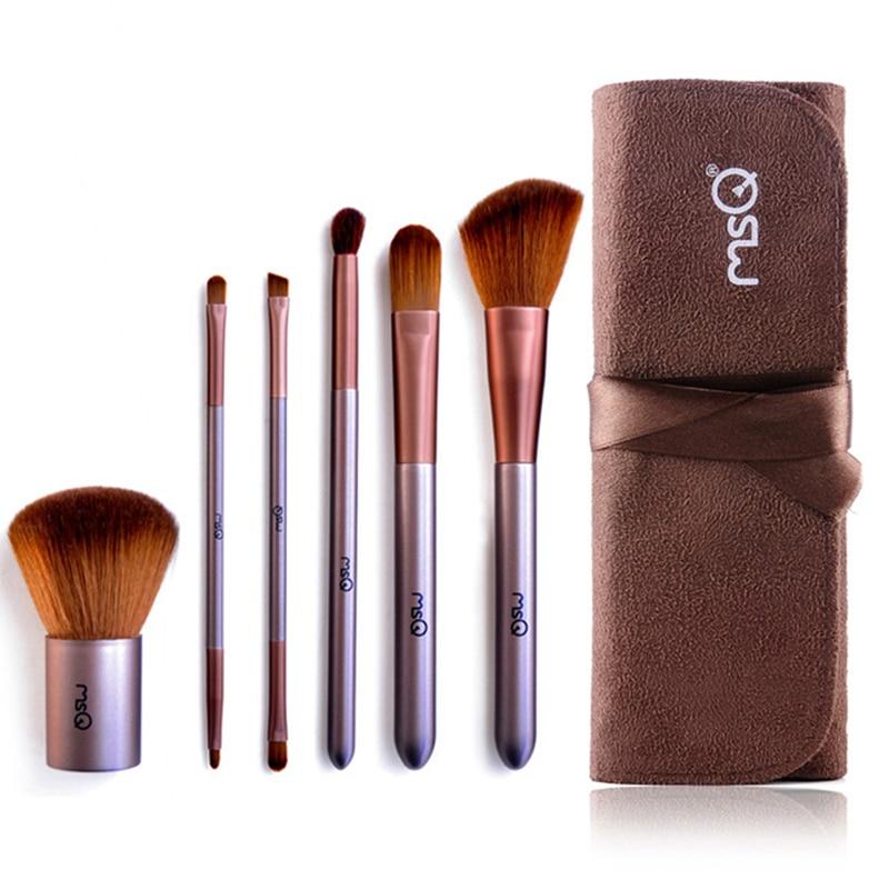 Msq Brand Soft Wooden Handle 6pcs Set Double Ended Makeup