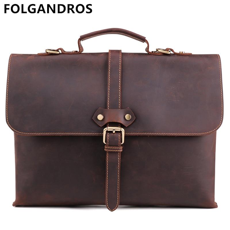 Men's Vintage Cowhide Briefcase Genuine Leather Brand Business Classic Laptop Messenger Bag Large Capacity School Satchel Bags