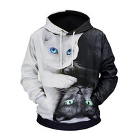 3D Print Black White Cat Sweatshirt Women Hoodies Sweatshirts Long Sleeve Pullovers Hooded Hoodie Streetwear Coat Plus Size Tops