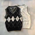 2016 Hot Sale Autumn Winter V-neck Baby Boys Knitted Vest Cardigan School Uniform Style Sweater Children White and Black