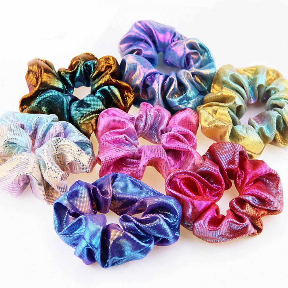 2019 Fashion Women Bronzing Colorful Elastic Hair Rope Glitter Ponytail Holder Hair Ring Rainbow Scrunchie Hair Accessories